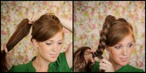 coiffure pour soirée cheveux longs - Soirée noël Modèle 3 (tresse haut nœud)