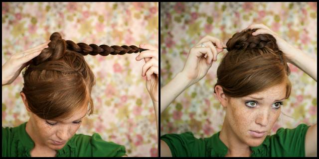 coiffure pour soirée cheveux longs , Soirée noël Modèle 3 (tresse haut nœud)