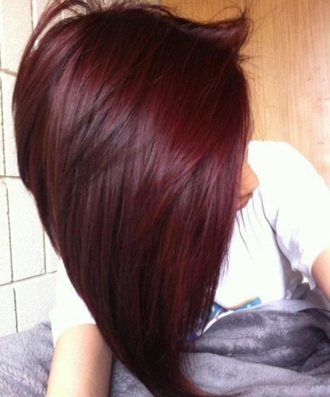 Bob Haircut With Bangs Dark Brown Red With Mahogany Highlights | Dark ...