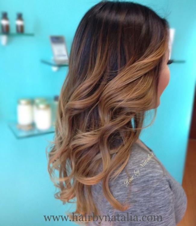 Ombre hair marron caramel la grosse tendance suivre - Ombre hair caramel miel ...