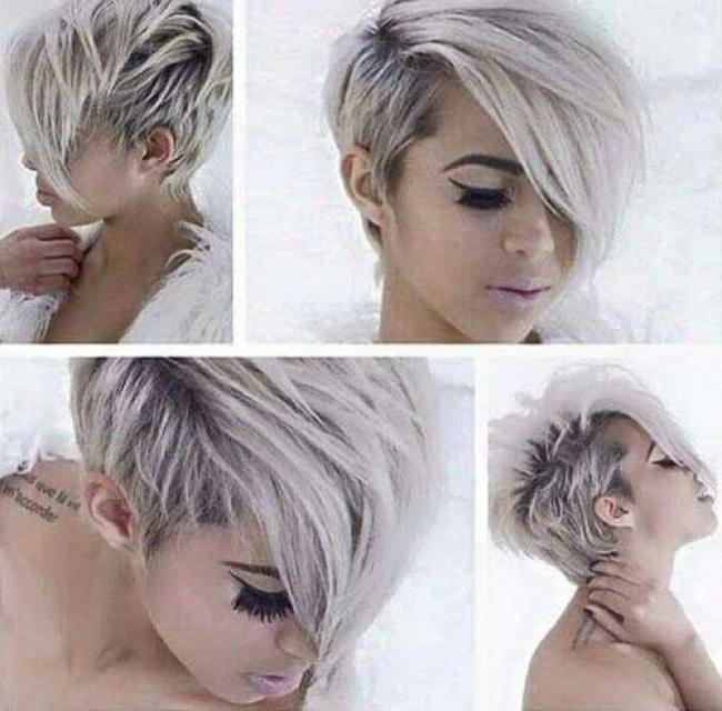 Coupe de cheveux courte couleur gris