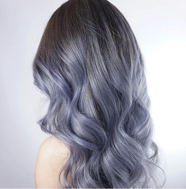 teinture cheveux gris bleu