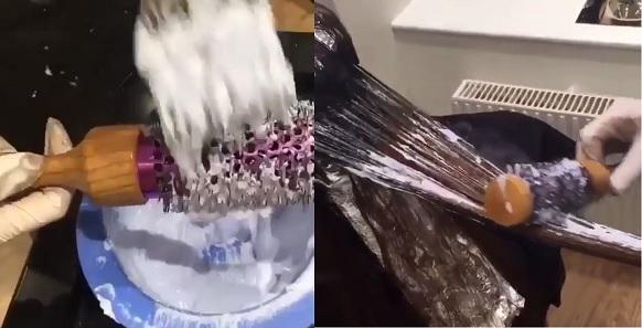 elle utilise une brosse de s che cheveux pour appliquer une teinture les r sultats sont. Black Bedroom Furniture Sets. Home Design Ideas