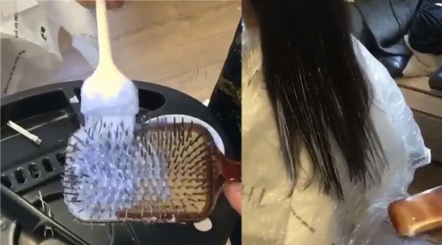 Bien-aimé Elle Met De La Teinture Sur Une Brosse Cheveux Et Peigne les  FS83