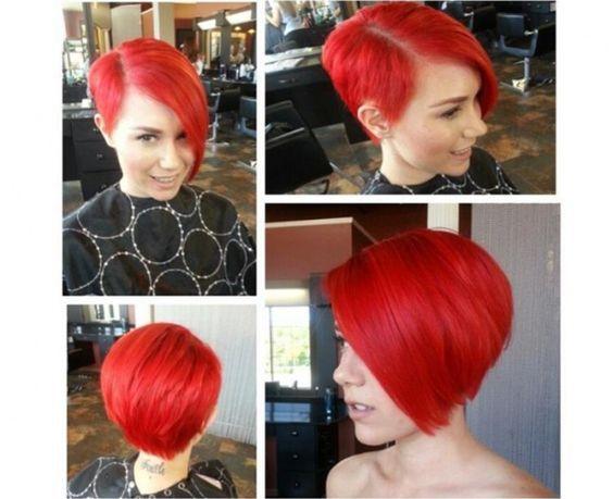 Couleur rouge sur cheveux court