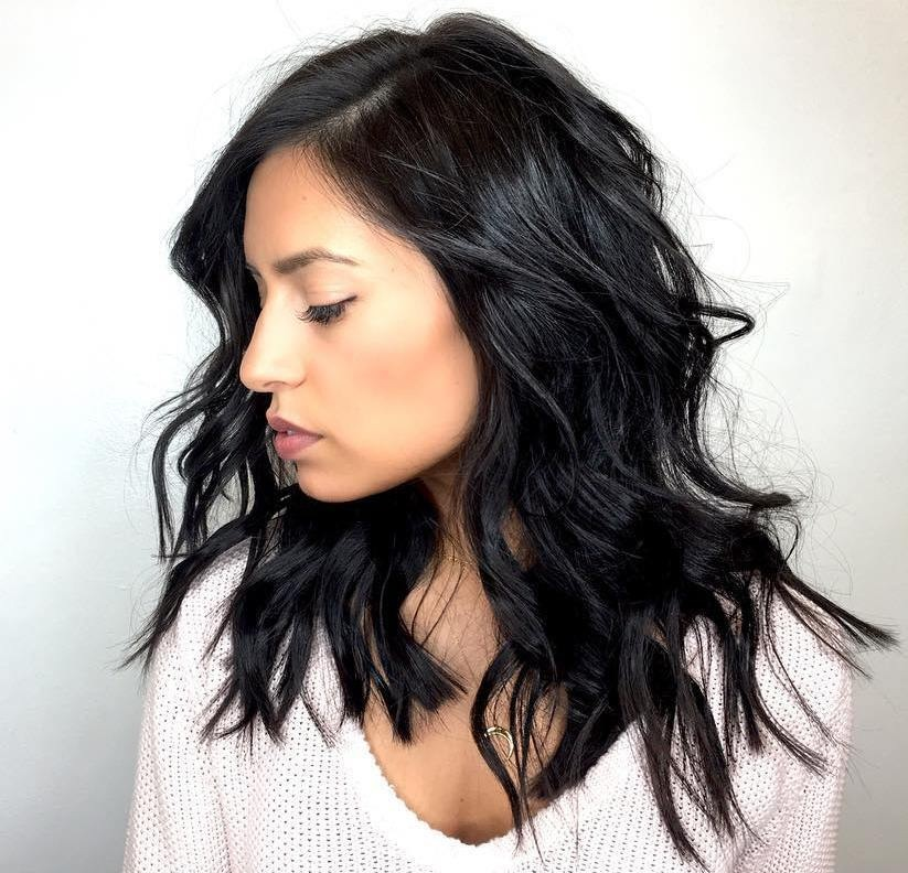 hairstyles for women straight on sides curly at bottom top ...
