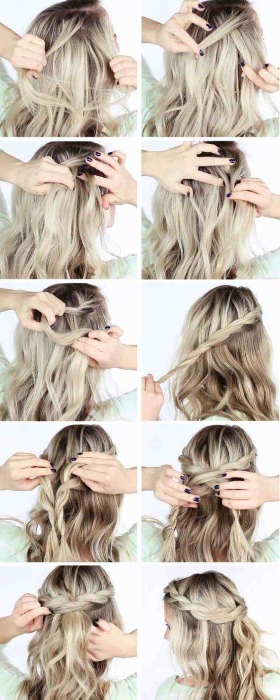 tresse cheveux mi long a faire soi même | Coiffure simple et facile