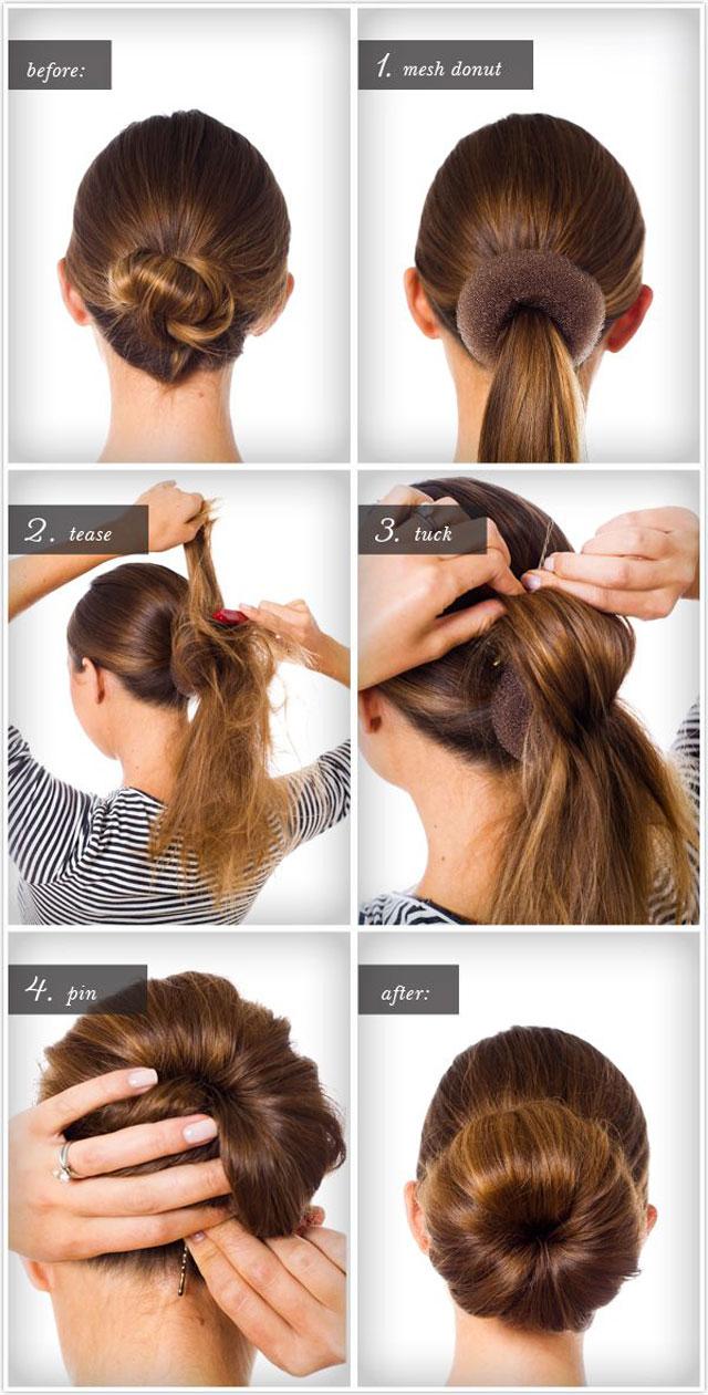 Chignon facile cheveux mi long a faire soi même | Coiffure simple et facile